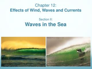 Chapter 12:  Effects of Wind, Waves and Currents Section II:  Waves in the Sea