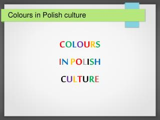 Colours in Polish culture