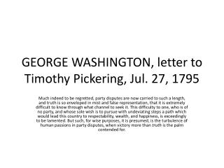 GEORGE WASHINGTON, letter to Timothy Pickering, Jul. 27, 1795