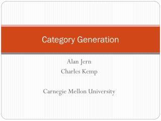 Category Generation