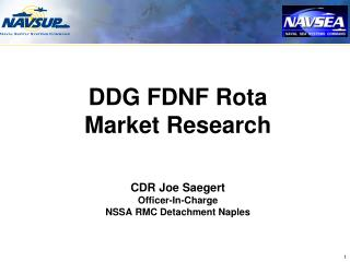 DDG FDNF Rota Market Research CDR Joe Saegert Officer-In-Charge NSSA RMC Detachment Naples