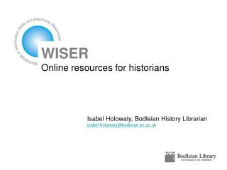 WISER Online resources for historians