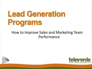 Lead Generation Programs - Televerde