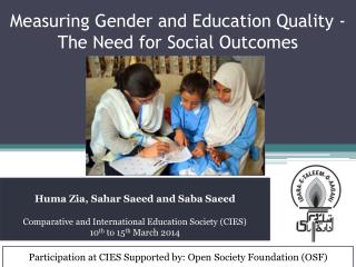 Measuring Gender and Education Quality - The Need for Social Outcomes