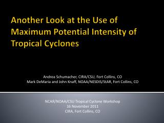 Another Look at the Use of Maximum Potential Intensity of Tropical Cyclones