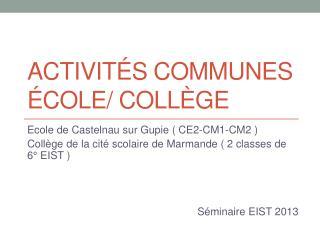Activités communes école/ collège