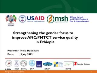 Strengthening the gender focus to improve ANC/PMTCT service quality in Ethiopia