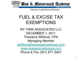 FUEL & EXCISE TAX EXEMPTIONS