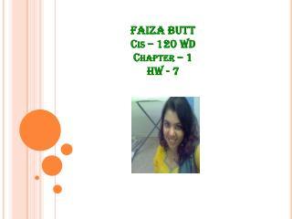FAIZA BUTT Cis – 120 WD Chapter – 1 HW - 7
