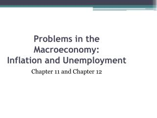 Problems in the Macroeconomy: Inflation and Unemployment