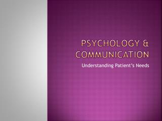 Psychology & Communication