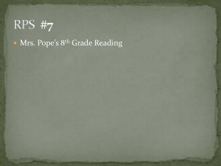 RPS   # 7
