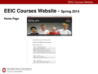 EEIC Courses Website -  Spring 2014 Home Page