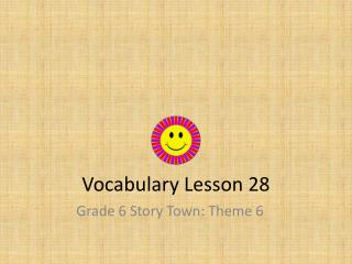 Vocabulary Lesson 28