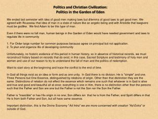 Politics and Christian Civilization:  Politics in the Garden of Eden