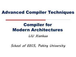 Advanced Compiler Techniques