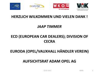 HERZLICH WILKOMMEN UND VIELEN DANK ! JAAP TIMMER ECD (EUROPEAN CAR DEALERS); DIVISION OF CECRA