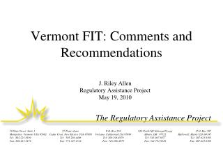 Vermont FIT: Comments and Recommendations