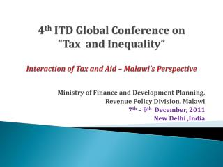 Ministry of Finance and Development Planning, Revenue Policy Division, Malawi