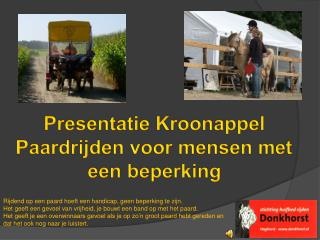 Presentatie Kroonappel Paardrijden voor mensen met een beperking