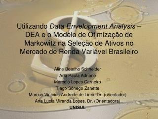Aline Botelho Schneider Ana Paula Adriano Marcelo Lopes Carneiro Tiago Sônego Zanette