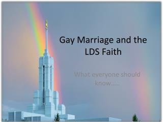 Gay Marriage and the LDS Faith