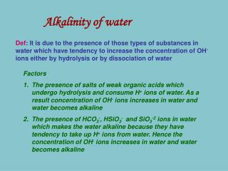 Alkalinity of water