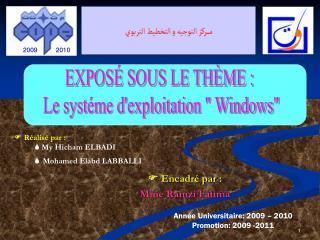   Réalisé par :  My Hicham ELBADI  Mohamed Elabd LABBALLI
