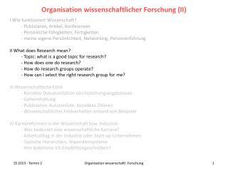 I Wie funktioniert Wissenschaft? - Publizieren, Artikel, Konferenzen