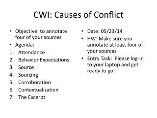 CWI: Causes of Conflict