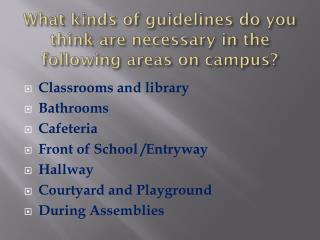 What kinds of guidelines do you think are necessary in the following areas on campus?