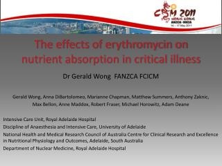 The effects of erythromycin on nutrient absorption in critical illness