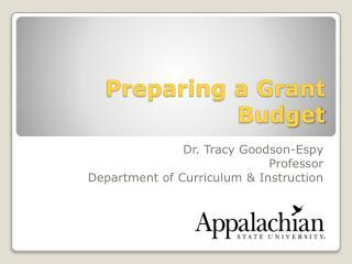 Preparing a Grant Budget