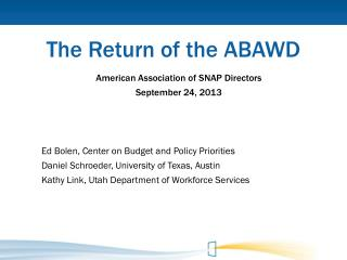 The Return of the ABAWD