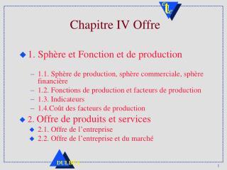 Chapitre IV Offre