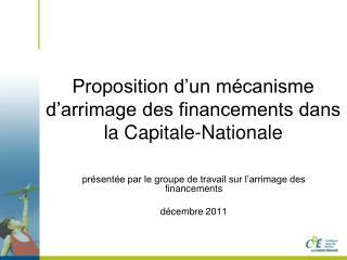 Proposition d'un mécanisme d'arrimage des financements dans la Capitale-Nationale