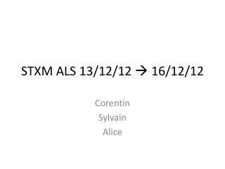 STXM ALS 13/12/12   16/12/12