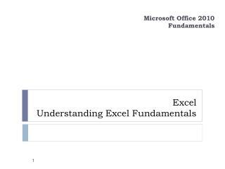 Excel  Understanding  Excel Fundamentals