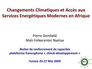 Changements Climatiques et Acc�s aux Services Energ�tiques Modernes en Afrique