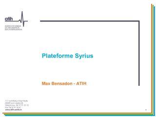 Plateforme  Syrius
