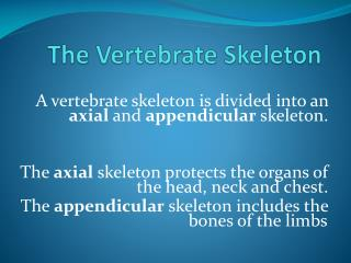 The Vertebrate Skeleton