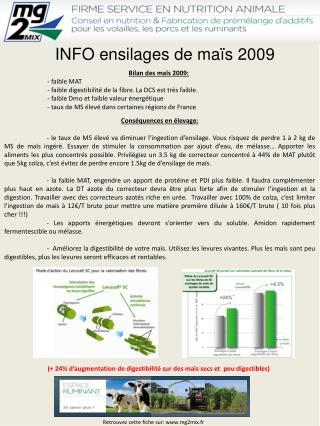 INFO ensilages de maïs 2009