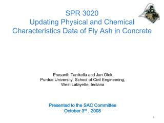 SPR 3020 Updating Physical and Chemical Characteristics Data of Fly Ash in Concrete