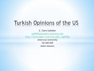 Turkish Opinions of the US