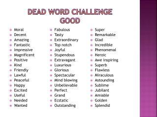Dead Word Challenge Good