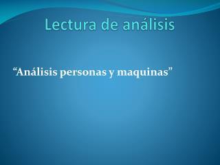 Lectura de análisis