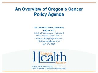 An Overview of Oregon's Cancer Policy Agenda