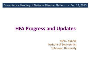 HFA Progress and Updates