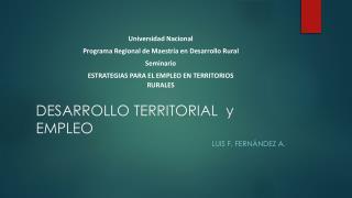 DESARROLLO TERRITORIAL  y EMPLEO