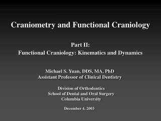 craniologyIISlides - Columbia University